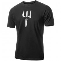 Pitchfork Casual T-Shirt White Print - Black - M